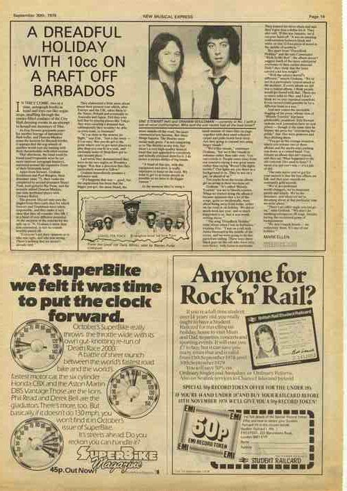 10cc Dreadful Holiday press article cutting/clipping 1978