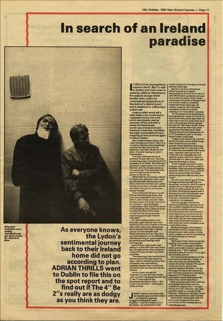 "4"" BE 2""s 1½ page Interview Music Press article/cutting/clipping 1980"