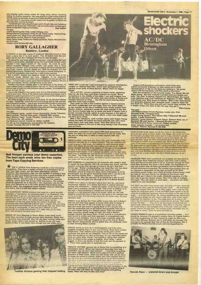AC/DC Rory Gallagher article cutting/clipping 1980