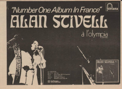 ALAN STIVELL A l'olympia A4 Size LP vintage music press advert cutting/clipping 1973