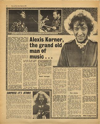 ALEXIS KORNER Interview Vintage Music Press Article/cutting/clipping 1971