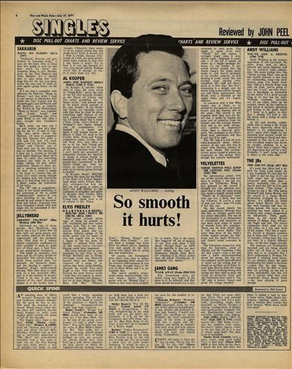 ANDY WILLIAMS JELLY BREAD JB'S reviews Vintage Music Press article/cutting/clipping 1971