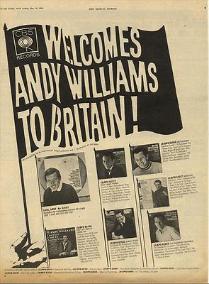 ANDY WILLIAMS Vintage Poster Size advert cutting/clipping 1968