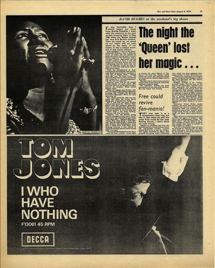 ARETHA FRANKLIN article Tom Jones advert Original Vintage music Press cutting/clipping 1970