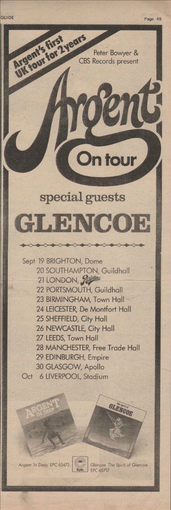 ARGENT On tour with Glencoe Poster size advert 1973 vintage cutting/clipping