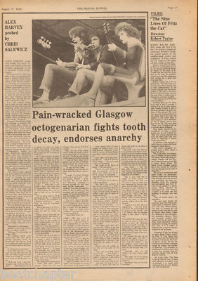 Alex Harvey Band Endorses Anarchy original Vintage Music Press Article cutting/clipping 1974