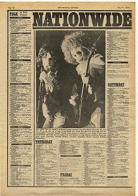 Alex Harvey Vintage Music Press Gig Guide PAGE 1974