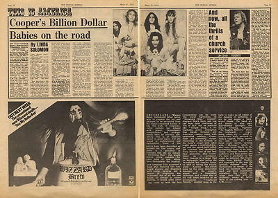 Alice Cooper Billion Dollar Babies Vintage Music Press Article/cutting/clipping 1973