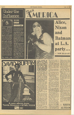 Alice Cooper Edgar Broughton Vintage Music Press article/cutting/clipping 1973