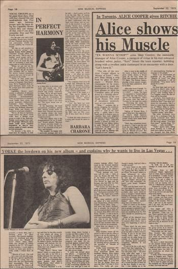 Alice Cooper Shows his muscle Music Press Article/cutting/clipping 1973