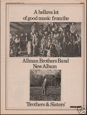 Allman Brothers Poster Size Original Vintage music Press cutting/clipping LP advert 1973