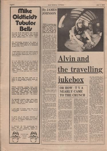 Alvin Lee And the Travelling Jukebox Music Press Article/cutting/clipping 1973
