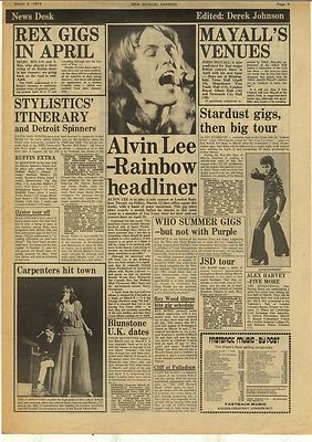Alvin Lee John Mayall T REX The Who Vintage Music Press Article/cutting/clipping 1974