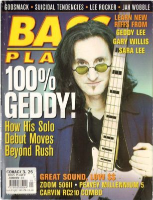 Bass Player Magazine January 2001 Jah Wobble Lee Rocker Godsmack Geddy Lee