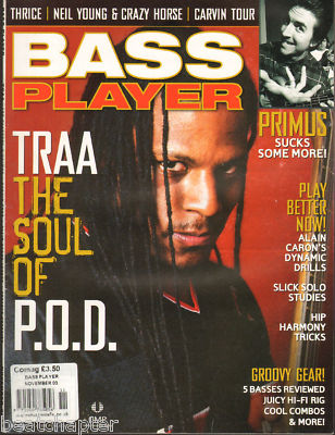 Bass Player Magazine November 2003 Traa of POD Primus Neil Young Thrice Alain Caron