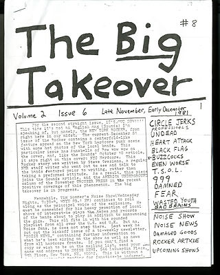 Big Takeover Magazine/Fanzine Issue No 8 Damned Buzzcocks 999 Wasted Youth Black Flag TSOL Fear
