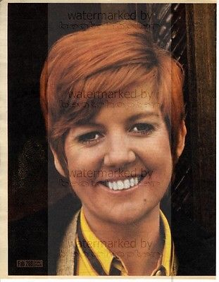CILLA BLACK size approx 10X13 inch pinup poster size press cutting/clipping 1967