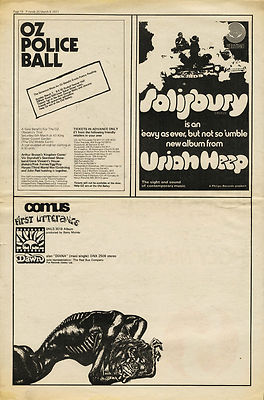 COMUS First Utterance A4 LP advert Uriah Heep Oz Police Ball clippings 1971