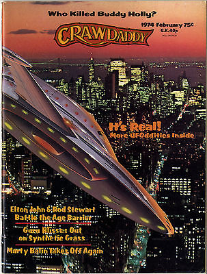 CRAWDADDY Magazine February 1974 Buddy Holly Bowie Mott Elton John Rod Stewart UFO sightings