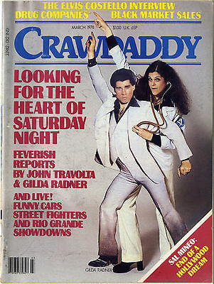 CRAWDADDY Magazine March 1978 Elvis Costello Sal Mineo Gilda Radner John Travolta Drag Race