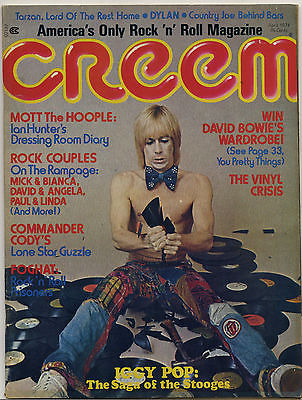 Creem Magazine April 1974 Iggy Pop Stooges Mott Ian Hunter David Bowie Foghat Bob Dylan Jethro Tull