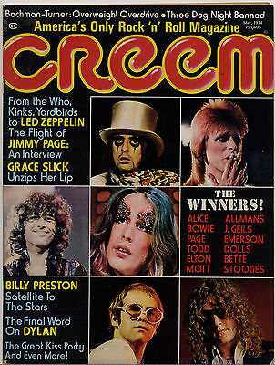 Creem Magazine May 1974 Led Zeppelin Jimmy Page Alice Cooper Bob Dylan Grace Slick Billy Preston