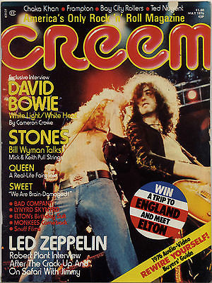 Creem Magazine May 1976 Led Zeppelin Robert Plant David Bowie Rolling Stones Queen Sweet Frampton