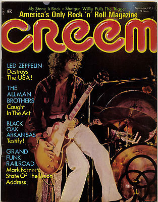 Creem Magazine September 1973 Led Zeppelin Black Oak Grand Funk Alice Cooper Allman Brothers Willie