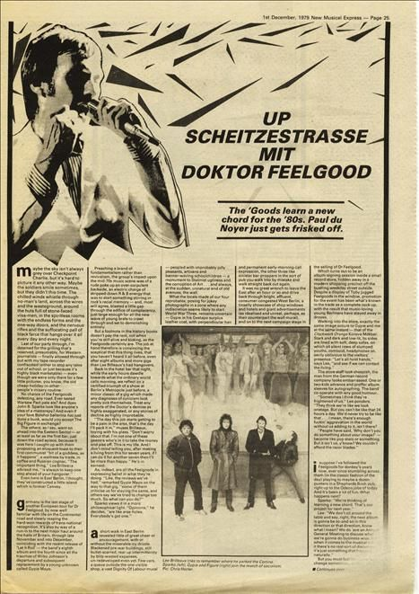 Dr Feelgood In Germany 1 page interview Press article/cutting/clipping 1979