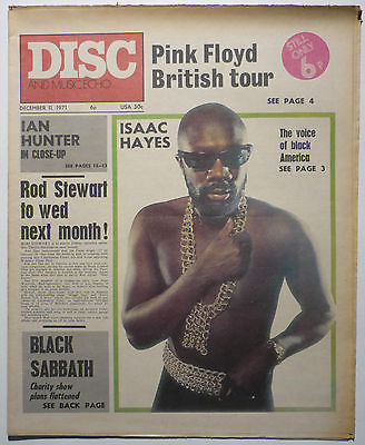 Disc & Music Echo Magazine 11 Dec 1971 Pink Floyd Black Sabbath Rod Stewart Isaac Hayes Ian Hunter