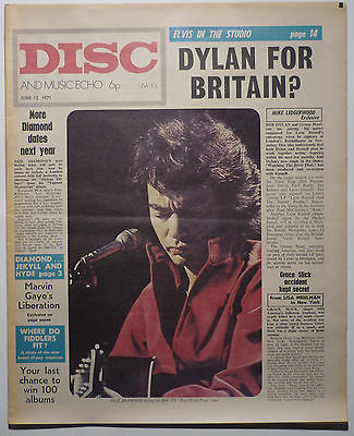 Disc & Music Echo Magazine 12 June 1971 Neil Diamond Elvis Marvin Gaye Bob Dylan