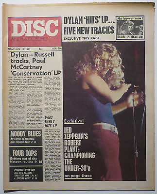Disc & Music Echo Magazine 13 Nov 1971 Led Zeppelin Sandy Denny Moody Blues Slade Fanny