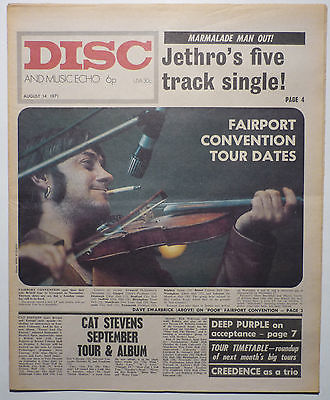 Disc & Music Echo Magazine 14 Aug 1971 Deep Purple Slade Fairport Convention Creedence Clearwater
