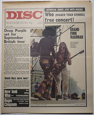 Disc & Music Echo Magazine 17 July 1971 Pete Townshend Who Grand Funk Jim Morrison Family R Chapman