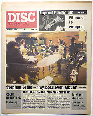 Disc & Music Echo Magazine 18 March 1972 Michael Jackson Steven Stills Beach Boys Vivian Stanshall