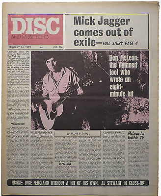 Disc & Music Echo Magazine 26 Feb 1972 Don McLean Mick Jagger Poco Al Stewart