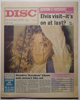 Disc & Music Echo Magazine 26 June 1971 Led Zeppelin Dave+Toni Arthur Jackson 5 Jimi Hendrix Hollies