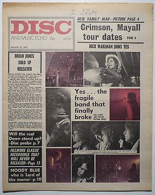 Disc & Music Echo Magazine 28 Aug 1971 Free Yes Grateful Dead Long John Baldry Three Dog Night