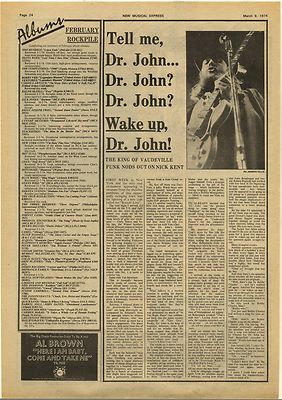 Dr John Interview Vintage Music Press Article/cutting/clipping 1974