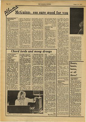 EDGAR FROESE KLAUS SCHULTZE ROGER McGUINN Music Press Article/cutting/clipping 1974