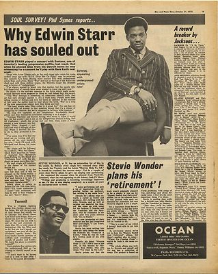 EDWIN STARR Stevie Wonder Vintage Music Press Article/cutting/clipping 1970