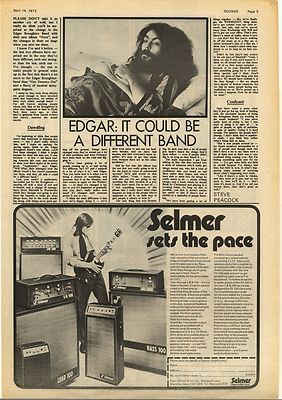 Edgar Broughton Interview & SELMER Ad Vintage Music Press Article/cutting/clipping 1973