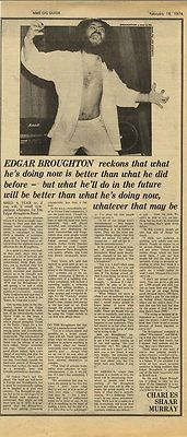 Edgar Broughton Interview Vintage Music Press article/cutting/clipping 1974