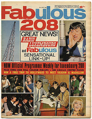 Fabulous 208 Magazine 4 June 1966 Small Faces Bob Dylan Walker Brothers David McCallum Beatles Paul