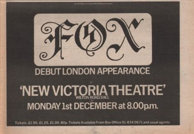 FOX A4 Size Victora Theatre concert vintage music press advert cutting/clipping 1975