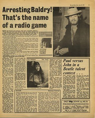 JOHN BALDRY RITA COOLIDGE LP Reviews Vintage Music Press Article/cutting/clipping 1971