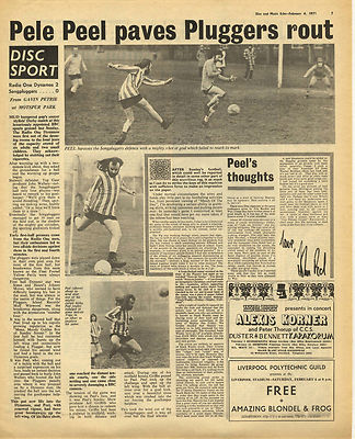 JOHN PEEL Football Match review Vintage Music Press Article/cutting/clipping 1971