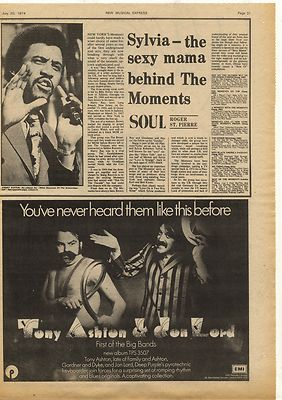 JON LORD TONY ASHTON Advert Music Press Article/cutting/clipping 1974