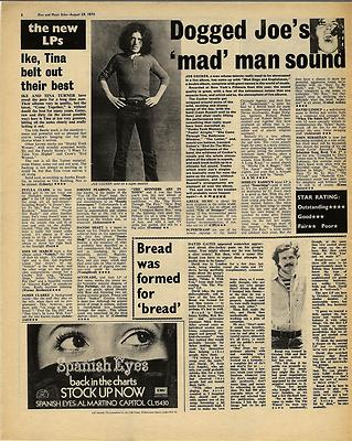 Joe Cocker IKE TINA TURNER LP reviews Vintage Music Press article/cutting/clipping 1970