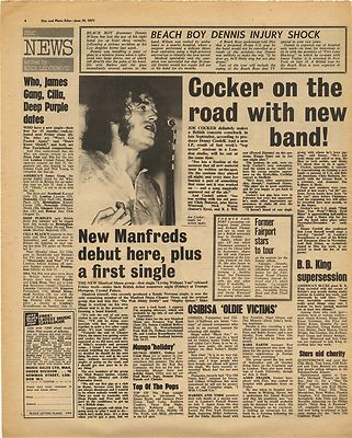 Joe Cocker MANFRED MANN Beach Boys Vintage Music Press Article/cutting/clipping 1971